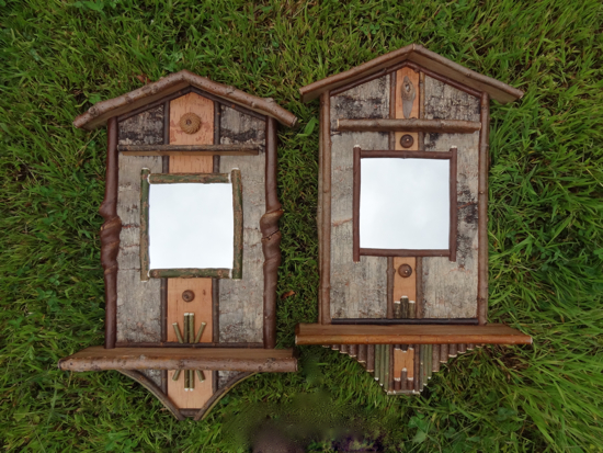 Custom Rustic Furniture by Don McAulay Rustic Entryway Mirror Shelves: