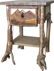 Birch Bark And Willow Endtable. Rustic Furniture Craftsmen